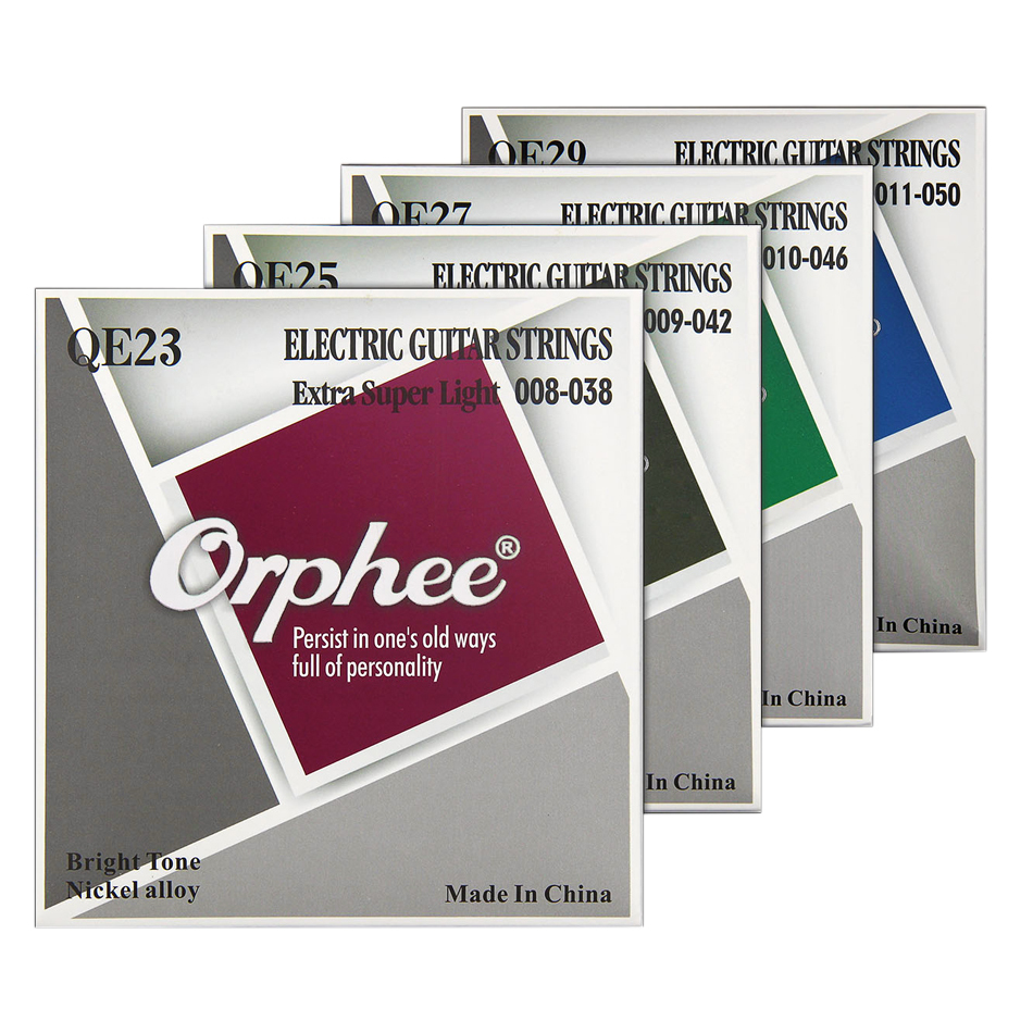 Orphee High Quality Electric Guitar Strings Full Set Nickel Alloy Hexagon Core Medium Super Light Extra Light Colorful End-Ball