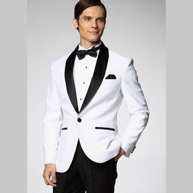 New Arrival One Button White Groom Tuxedos Groomsmen Men\'s Wedding ...