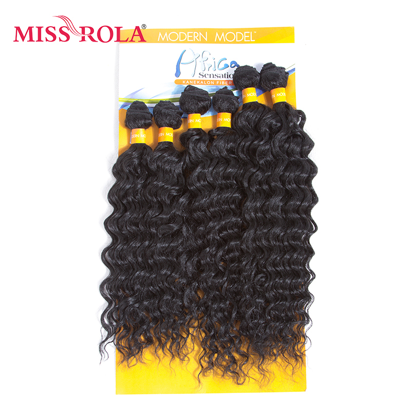 Miss Rola 1B# Black Synthetic Rose Wave Hair Extensions 6pcs/Pack Kanekalon Fiber Wavy Weave for Women 14-18 inch Weaving