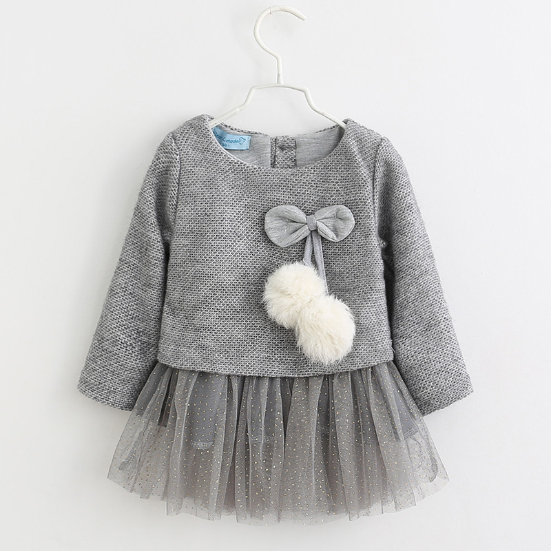 New Year Clothes Baby Girl Dress Casual Autumn Baby Clothes Bowknot Fake Two Piece Thick Girls Dress Children Christmas Costume