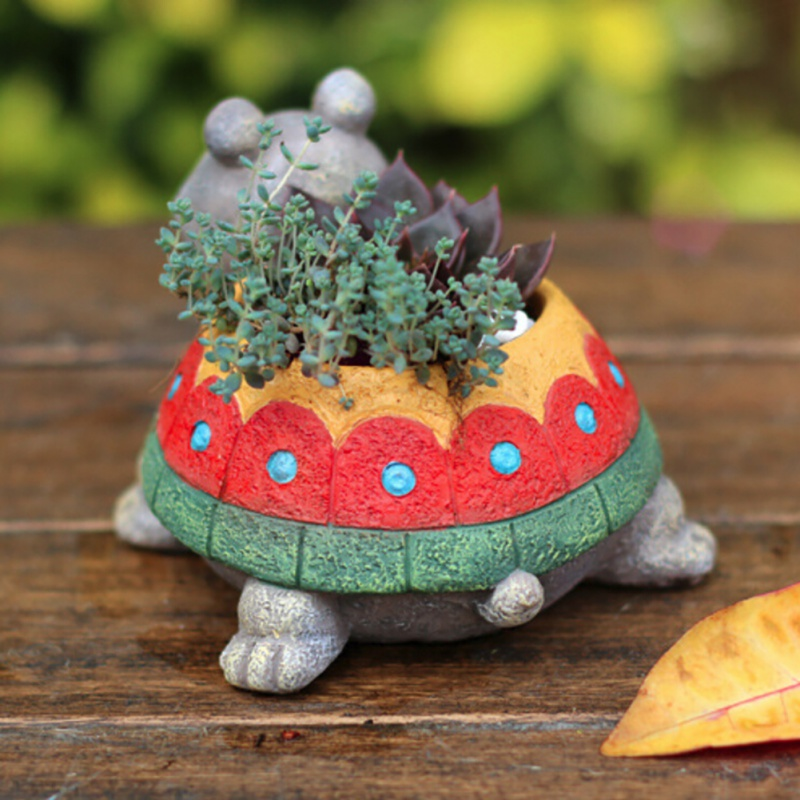 1PC Cartoon Turtle Flower Pot Planter Succulents Green Plant Desktop Animal Vase For Mini Bonsai Home Garden Decor Turtle