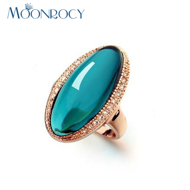 MOONROCY Rose Gold Color Green Austrian Crystal CZ Rings Oval Drop Shipping for Women Gift Finger Party Rings Gift Wholesale