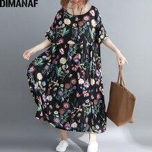 DIMANAF Plus Size Women Dress Summer Female Vestidos Elegant Lady Beach Sundress Print Floral Linen Loose Big 5XL 6XL