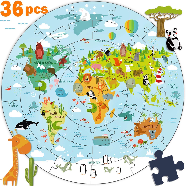 Kids Wooden World Map Jigsaw Puzzle Toy Jumbo Floor