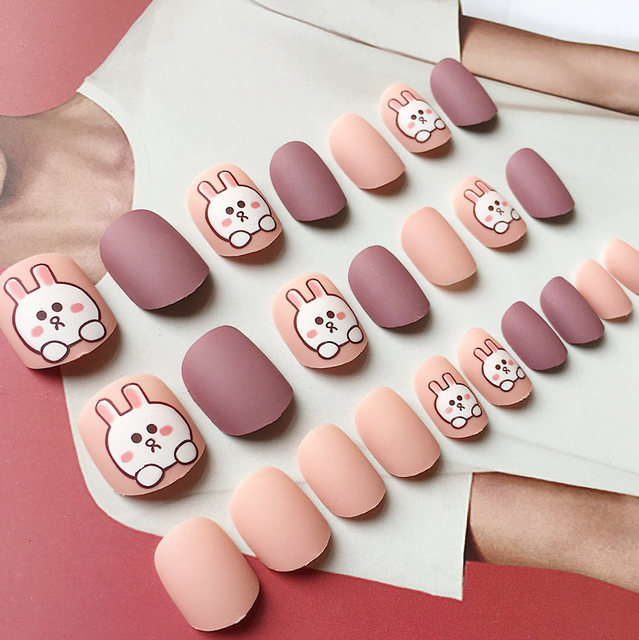 Japanese cute matte purple and pink cream pure color with rabbit ...