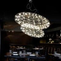 Oval Spark LED Chandelier Light Fireworks Ceiling Fixture Lighting Steel Pendant Lamp D 55/75cm