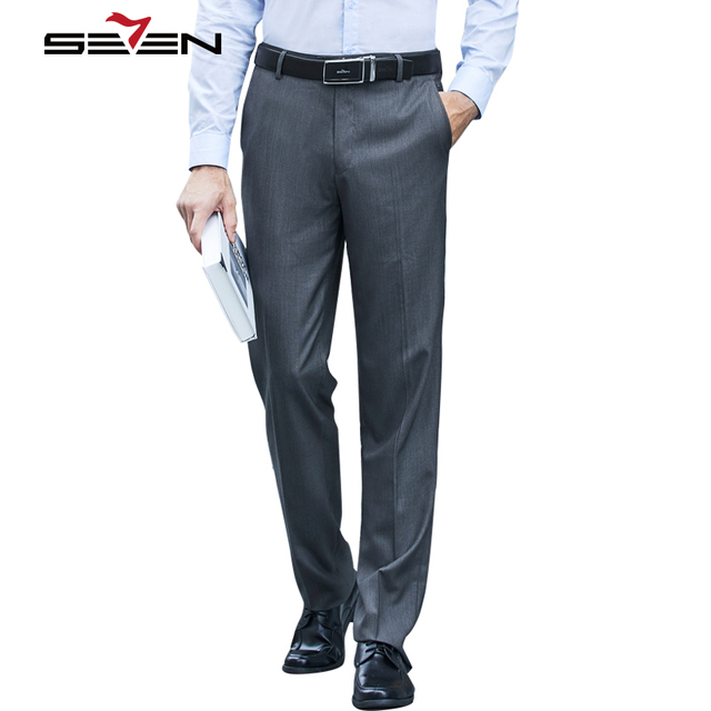 Seven7 Suit Pants For Men Classic Male Trousers Office Formal Slim Fit Casual Gray Cotton Mens Dress Pant High Quality 706B78140