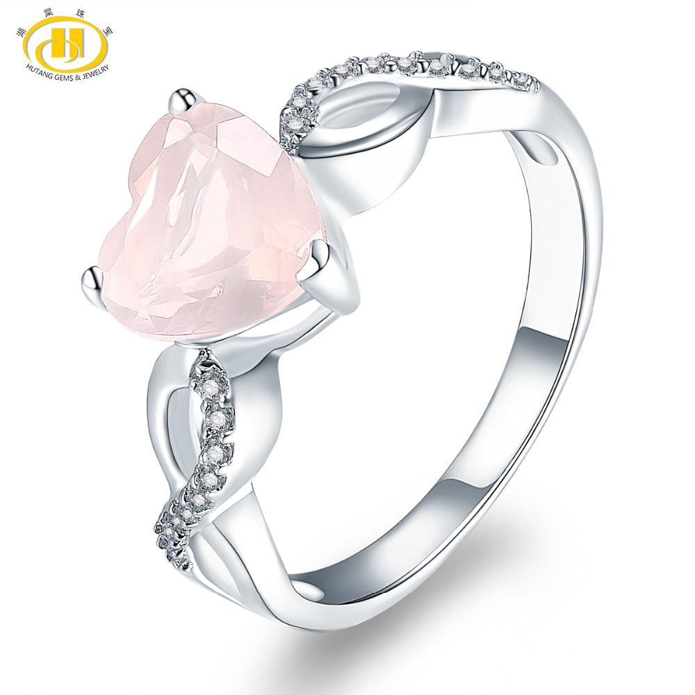 Hutang Women's Ring Natural Rose Quartz Solid 925 Sterling Silver Heart Rings Fine Pink Gemstone Elegant Jewelry Infinite Love