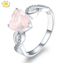 Hutang Womens Ring Natural Rose Quartz Solid 925 Sterling Silver Heart Rings Fine Pink Gemstone Elegant Jewelry Infinite Love