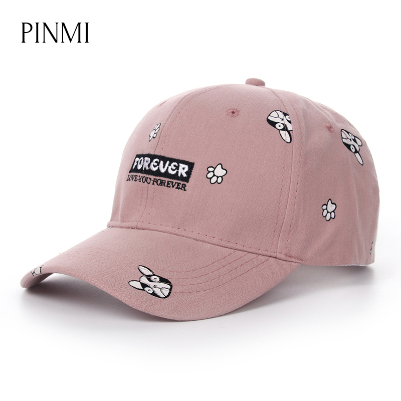 PINMI Pink Baseball Cap Women 2017 Cute Dog Pattern  Bone Snapback Hat for Women High Quality Summer Hip Hop Caps Girl Gorras 2017 new fashionable cute soft black grey pink beige solid color rabbit ears bow knot turban hat hijab caps women gifts