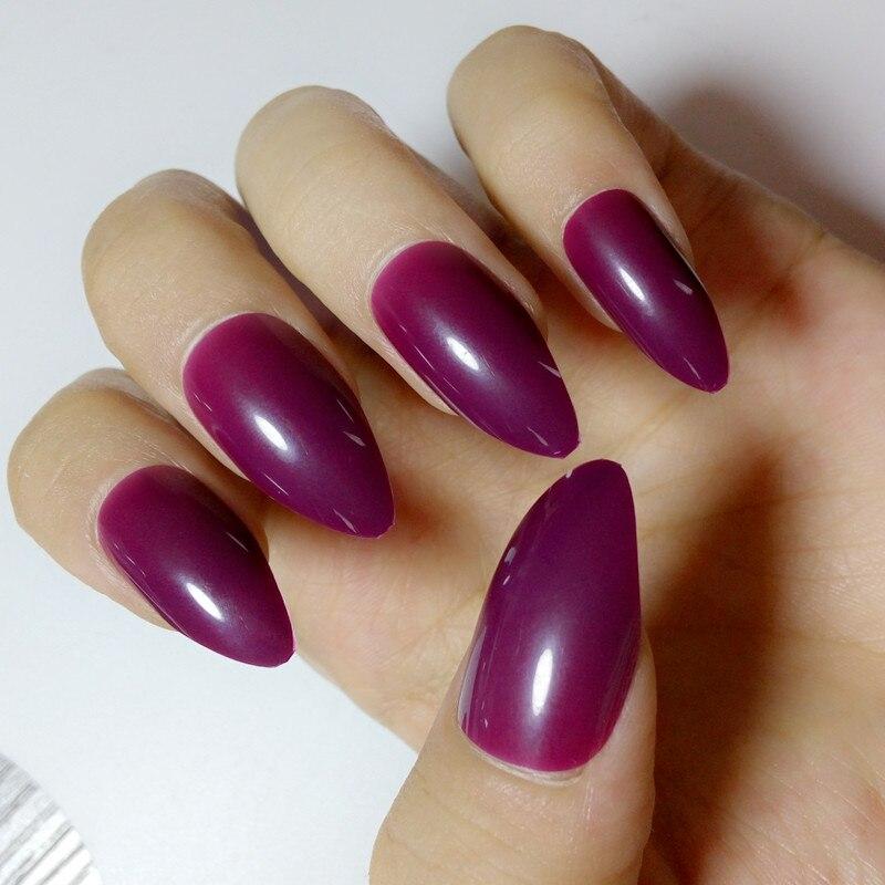 Tienda Online Moda uva púrpura Uñas postizas plástico color caramelo ...