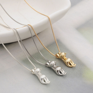 Fashion Cute Cat Necklace & Pendant For Women Gift Silver Gold Color Wholesale Trendy Animal Pet Charm Jewelry Colar de Plata
