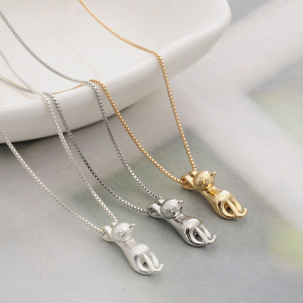 New Silver Lovely Jumping Cat Pendant Necklace Kitten Necklace Women Jewelry