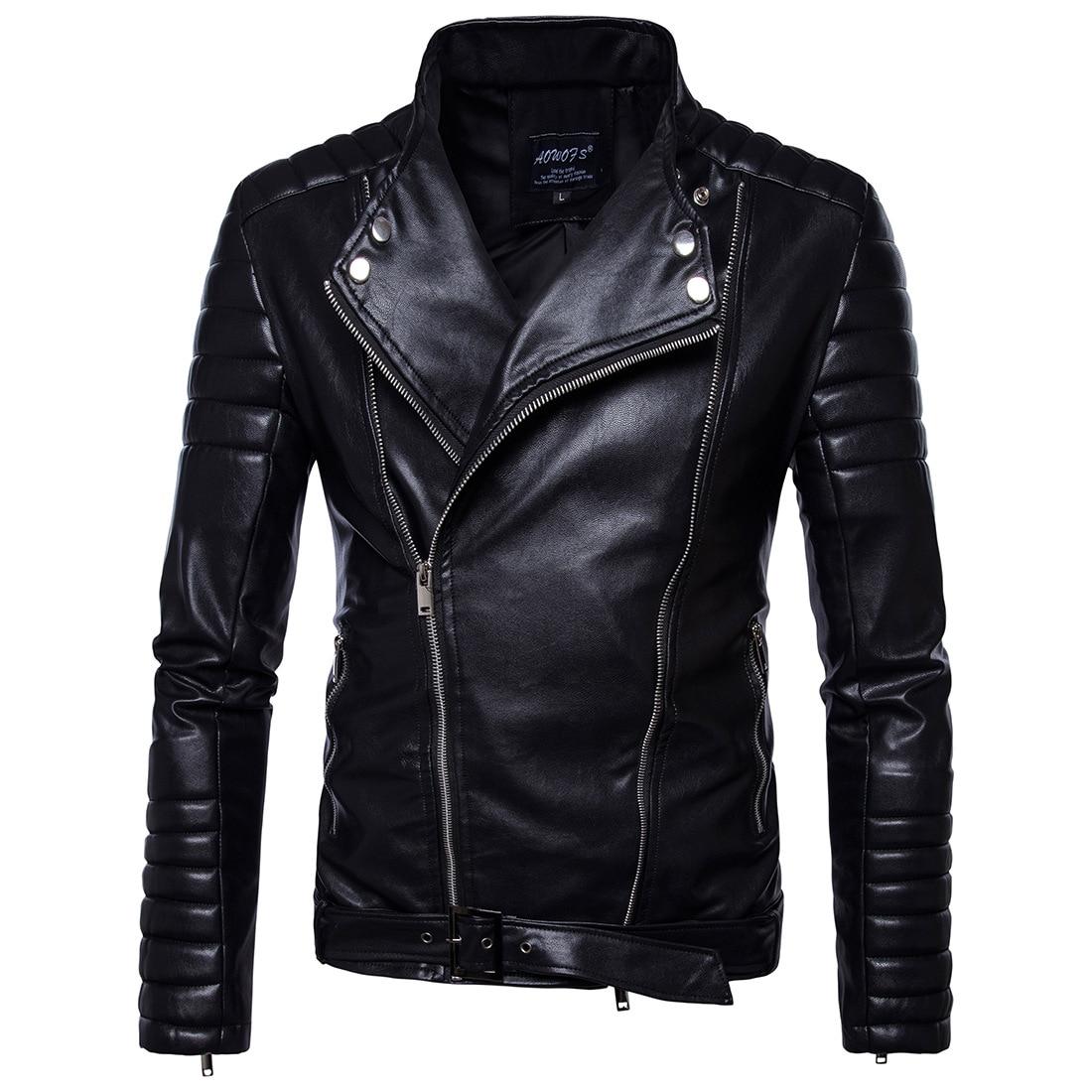 Vintage chaquetas Mens Classic Retro chaqueta abajo Collar Delgado Faux Leather Biker chaqueta ropa de la motocicleta