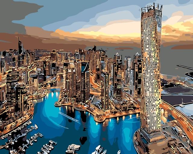 Dubai Kota Cat Minyak Lukisan Modern Gambar Mewarnai Picutre Dengan