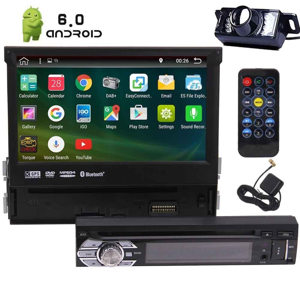 1 DIN Android 6.0 Car Stereo Receiver Bluetooth GPS