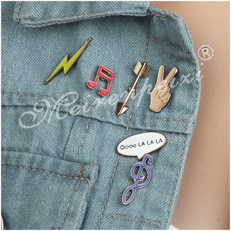 Enamel Channel Pin Set Panah Tangan Petir Catatan Pin dan Bros Fashion Colorful Mini Bros Minyak Tetes Kerah Kerah Bros
