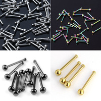 100pcs Lot 20G Stainless Steel Nose Stud Ring Punk Bar Pin Nose Rings Body Piercing Jewelry