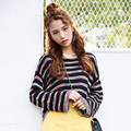 College Wind Colorful Striped Casual Loose Fashion New Knited Thin  Regular Female Sweaters