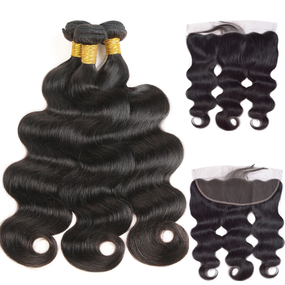 Brazilian Body Wave Human Hair Weave 3 Bundles With 13*4 Lace Frontal Closure Remy Hair With Bundles Hair Extension