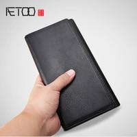 AETOO Simple men's leather multi card wallet long head layer soft cowhide wallet 23 card bit