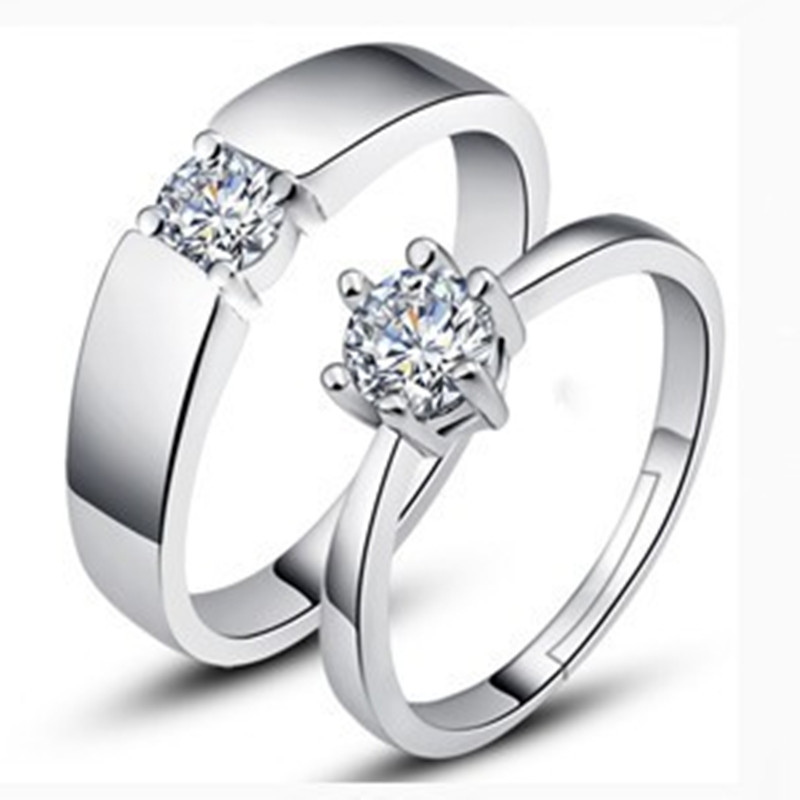 1pair Couples Lovers Zircon 925 Sterling Silver Ring ...
