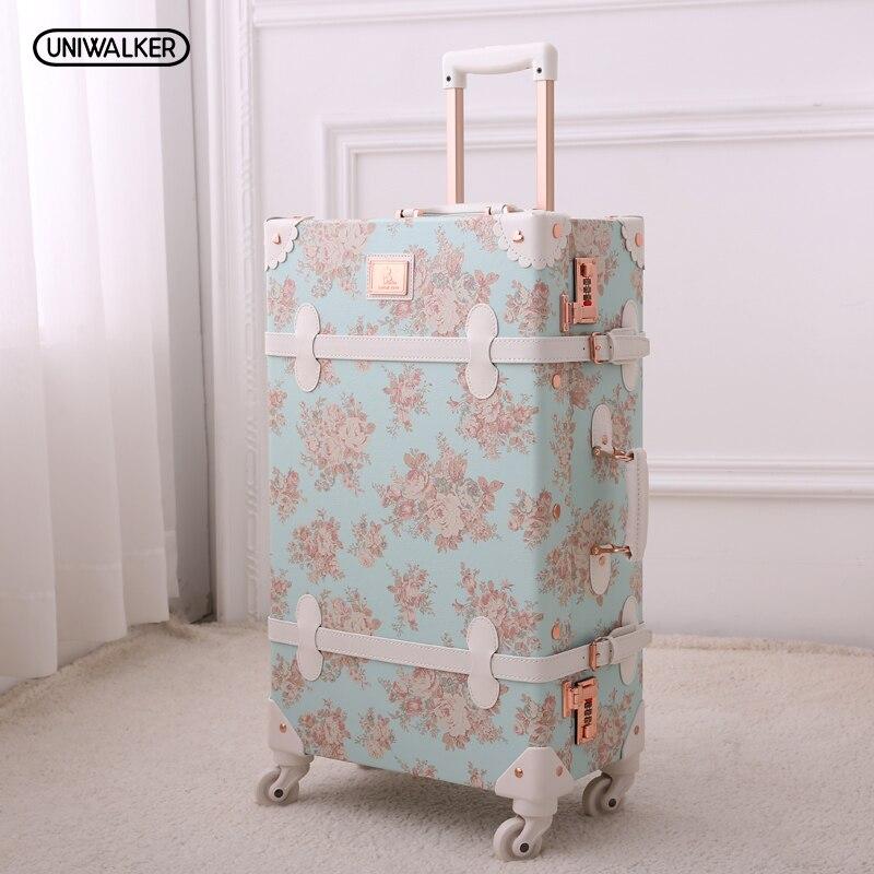 13 20 22 24 26 Девушка винтаж синий цветочный путешествия чемодан с выдвижной ручкой чемодан, для женщин Ретро путешествия чемоданы на универс...