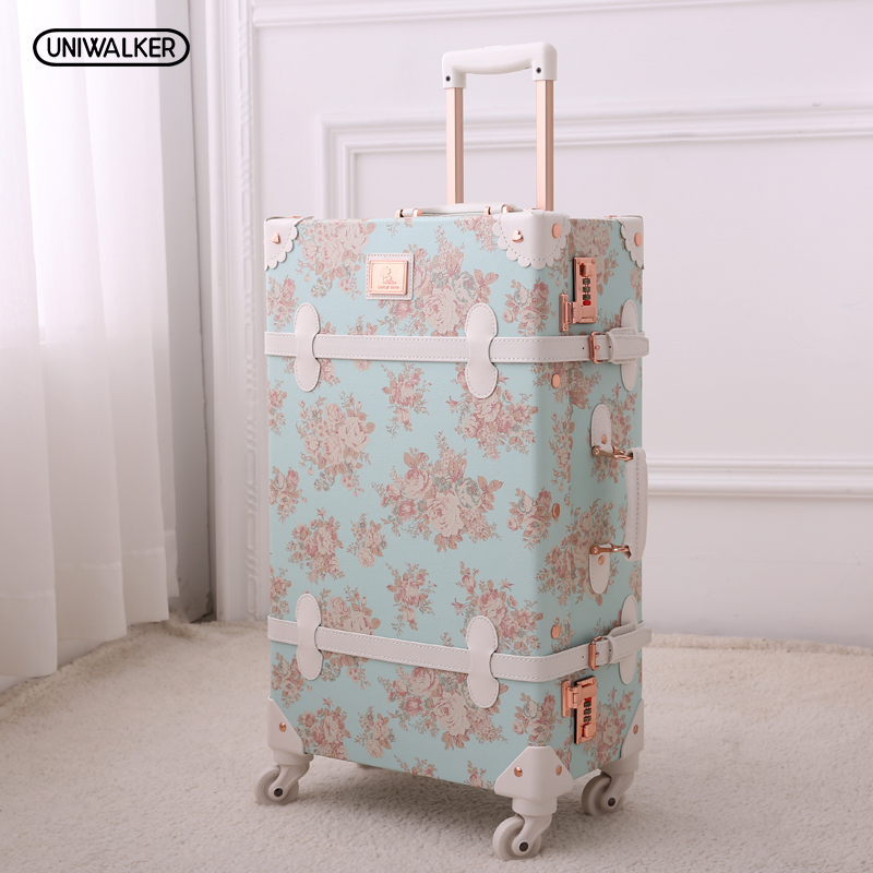 13 20 22 24 26 Girl Vintage Blue Floral Travel Trolley Luggage Suitcase, Women Retro Travel Suitcases On Universal Wheels
