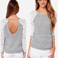 2016 Women Backless Long Sleeve Embroidery Lace Crochet Shirt Top Blouse Grey Drop Shipping S-2XL