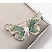Simple three colors drop glue butterfly brooch vintage pearl brooch for women insect accessories