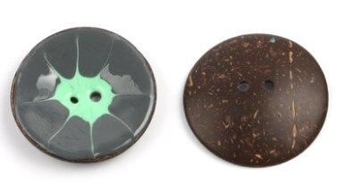 Цветная круглая Кокосовая декоративная кнопка, большая Деревянная пряжка, сделай сам, пальто для одежды, Кокосовая оболочка, клеевая кнопка, Детская Кнопка 63 мм - Цвет: 16