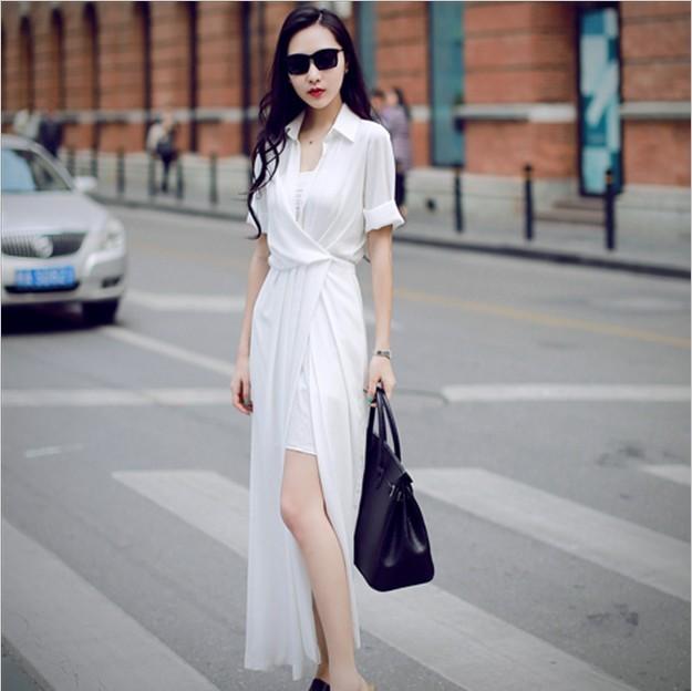 Customize Women Sumer Fashion Elegant Sexy Slim Fit Maxi Long Chiffon Shirt  Dress Casual Plus Size 3XS-10XL Vestido Femininas 18d16d506d40