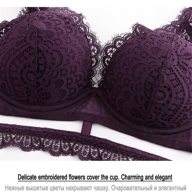 Image 5 - New Top Black Bra and Panties Set Thin Cotton Brassiere Embroider Lingerie set Lace Bra Women Sexy Underwear Set Deep V Gather-in Bra & Brief Sets from Underwear & Sleepwears