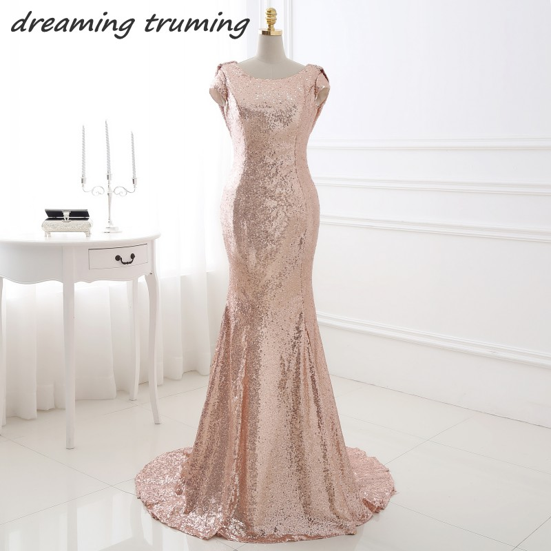 Y Backless Rose Gold Sequin Bridesmaid Dresses Mermaid Long Wedding Party Dress Real Picture Robe Demoie D Honneur