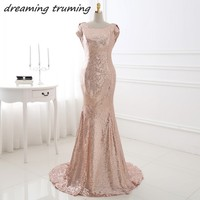 Sexy Backless Rose Gold Sequin Bridesmaid Dresses Mermaid Long Cheap Wedding Party Dress Real Picture Robe Demoiselle D'honneur