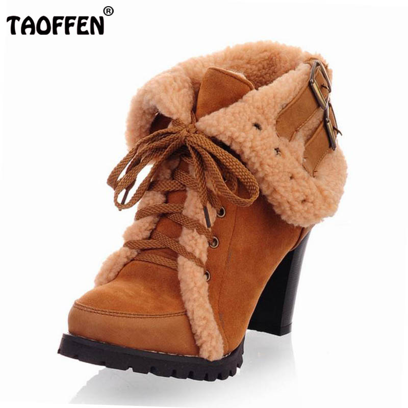 TAOFFEN women ankle boots high heel short half boot winter fashion sexy botas warm fur buckle shoes P1794 on sale size 32-43 taoffen women falt half short ankle boots winter botas footwear cross strap round bohemia toe warm boot shoes p19357 size 34 43