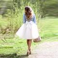 2017 Vintage Longitud de La Rodilla Falda de Tul con Oferta Bola Arco otoño Invierno Estilo Mujeres Mediados Faldas Tutú de La Falda 5 Capas de Tul