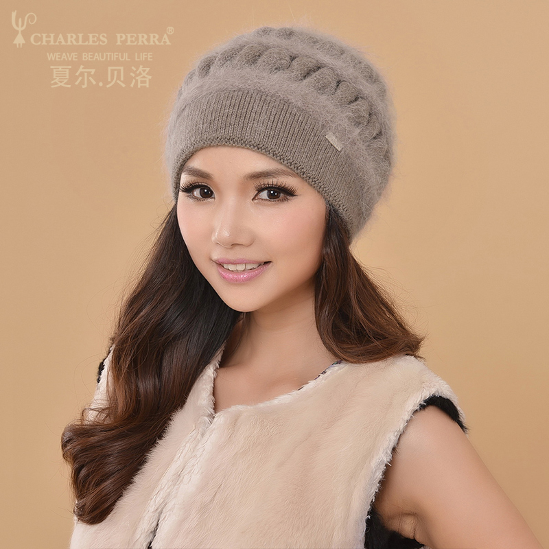 Charles Perra Women Knitted Hats Winter Thicken Double Layer Elegant Casual Wool Blend Women's Hat Warm Female Beanies CD62