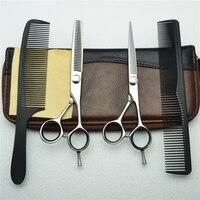 4Pcs Set 5.5'' 6'' Customized Logo Professional Human Hair Scissors Hairdressing Scissors Cutting Shears + Thinning + Comb C1021