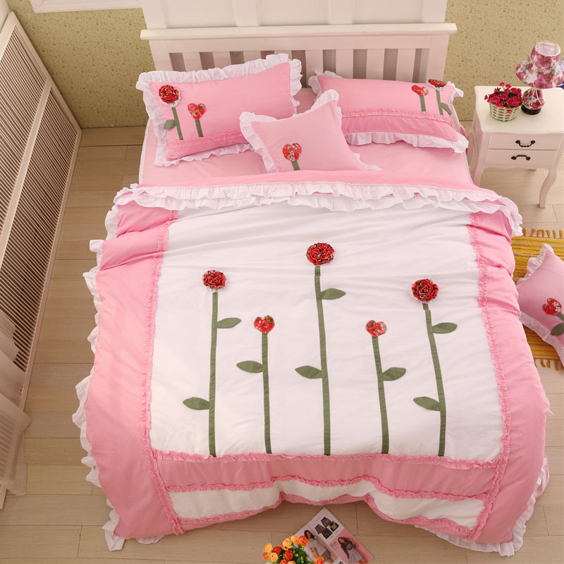 43pcs 100 cotton white pink flowers 3d korean bedding set king queen twin size girls single bed set bed sheet set duvet cover