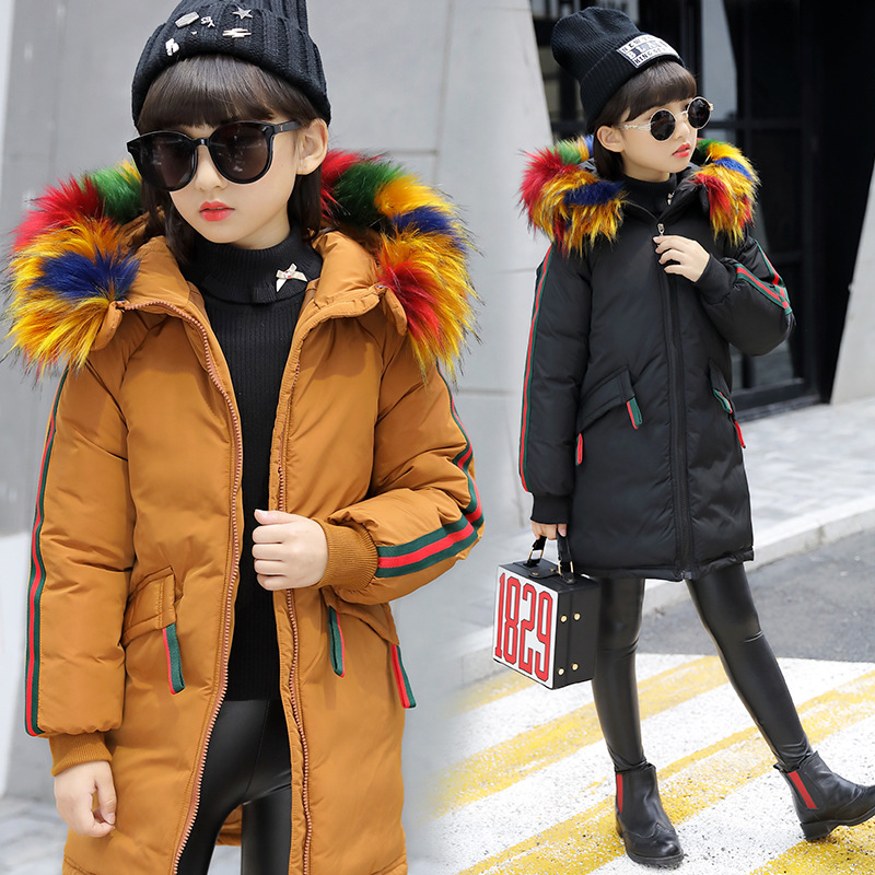 Big Girls Coat 2017 Winter New Fashion Thick Cotton Coat Multicolor Fur Collar For Girls In The Long Winter цены онлайн