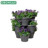 Three dimensional Multi layer Flower Pot Balcony Vegetable Strawberry Planting Flower Pot Suspension Hanging Plastic Flower Pot