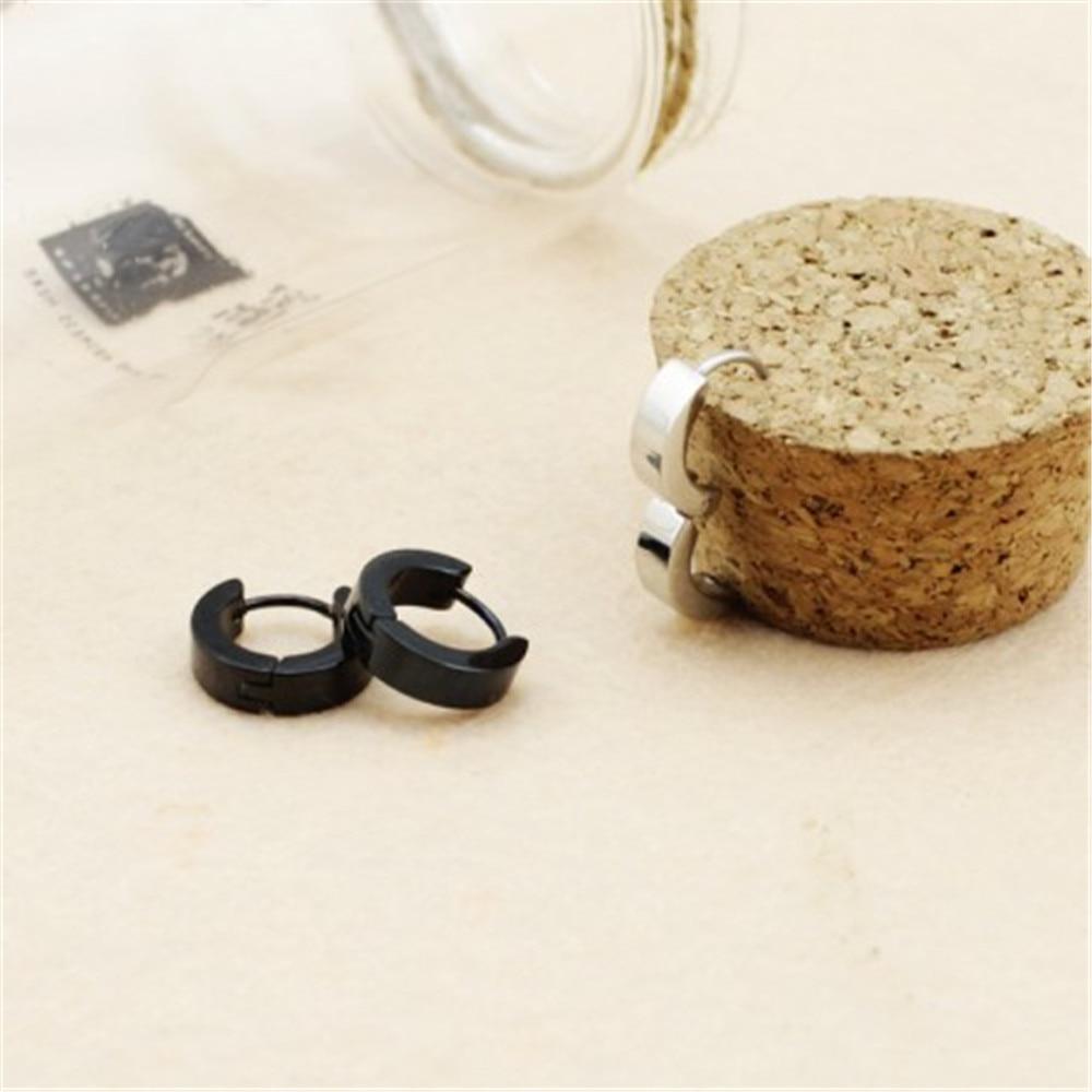 Wholesale k-pop SHINEE Key Lucifer silver and black titanium steel Men or Women Stud earrings FR416 FR417