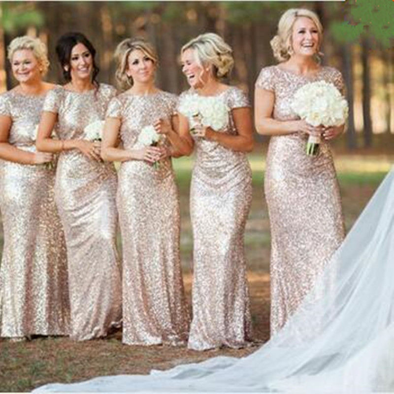 2015 champagne Cheap sheath   Bridesmaid     Dresses   vestido de festa sexy Short Sleeve Sequins Backless Long Wedding Party Gowns Gold