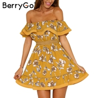 BerryGo Off Shoulder Ruffle Floral Print Summer Dress Women Sexy Hollow Out White Mini Beach Dress
