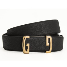Luxury Designer Brand High Quality Women Men Genuine Real Leather Belt Strap for Jeans with Big Double GG Buckle Dress Belts