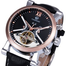 FORSINING Luxury Business Tourbillon font b Mechanical b font Watch Leather Strap Automatic Gold Skeleton Case