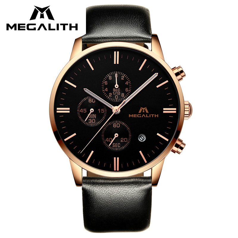 MEGALITH Gold Case Mens Watches Top Brand Luxury Analogue Quartz Watch Waterproof Date Calendar Leather Business Watch For Men business casual men clock megalith top brand luxury mens watches waterproof analogue date stainless steel quartz wrist watch men