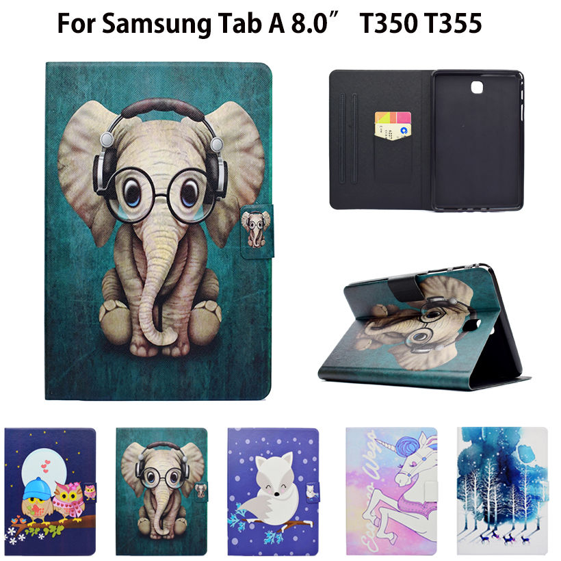 Fashion Animal Flip PU Leather Case For Samsung Galaxy Tab A T350 T355 SM-T350 P350 P355 Smart Cover Cases Funda Tablet Shell