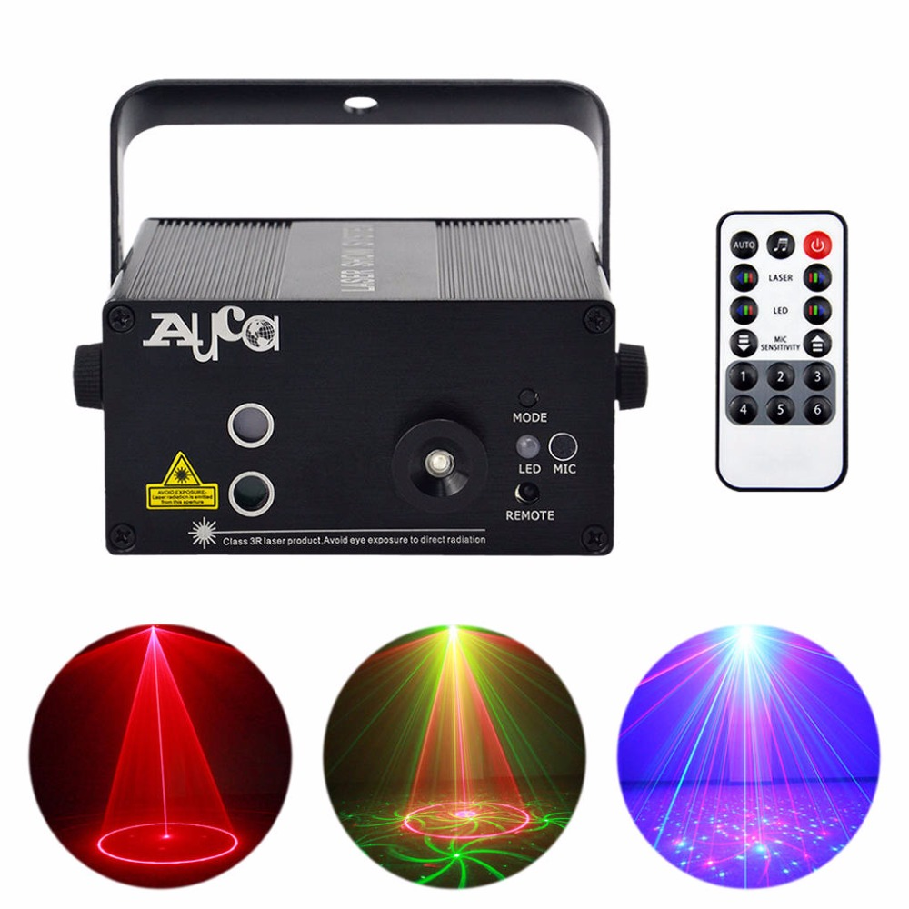 AUCD Remote Mini 24 Red Green Gobos Laser Effect Projector 3W Blue LED Light Wedding DJ Party Show Club Stage Lighting L24RG rg mini 3 lens 24 patterns led laser projector stage lighting effect 3w blue for dj disco party club laser